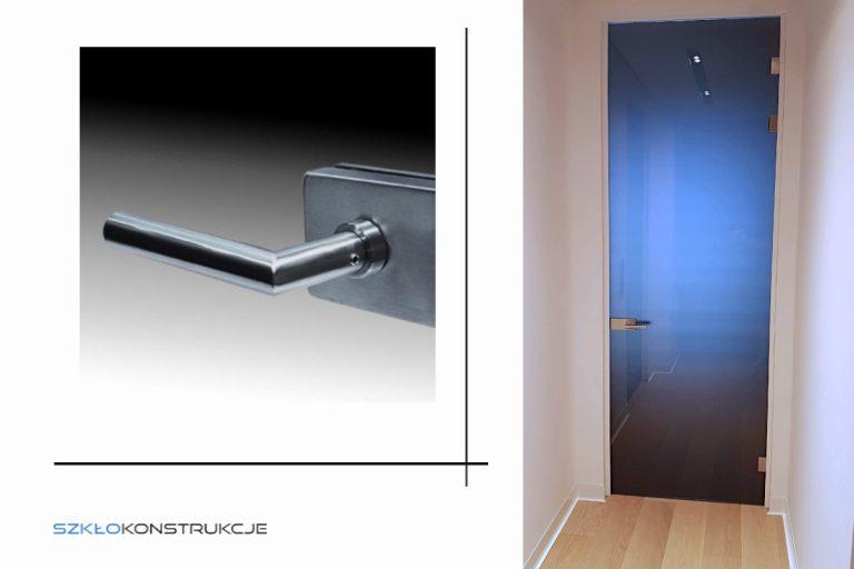 drzwi szklane ze szkłem grafitowym w ościeżnicy
