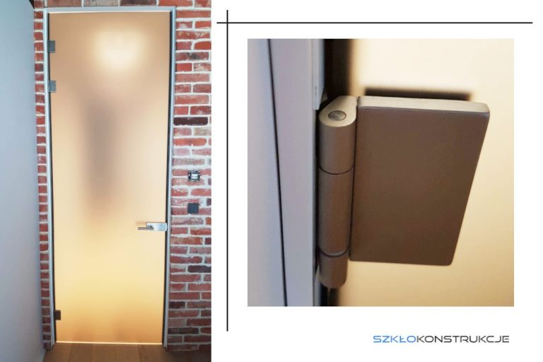 drzwi ze szkła satyna w aluminiowej ościeżnicy