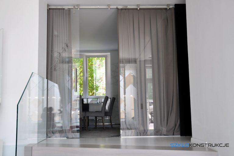 ścianka szklana z drzwiami przesuwnymi