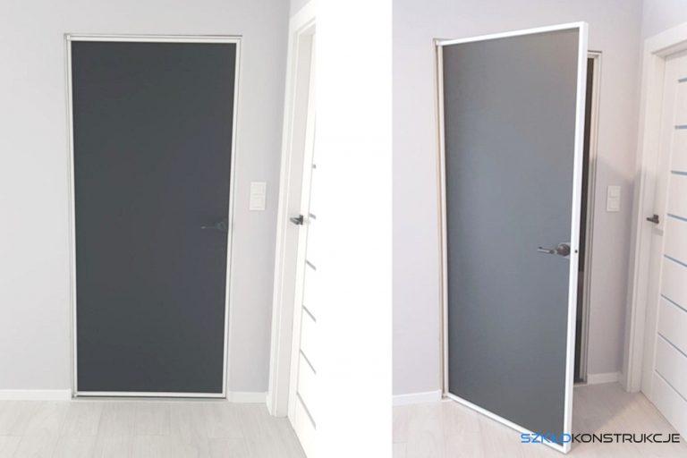szklane drzwi w aluminiowej ramie
