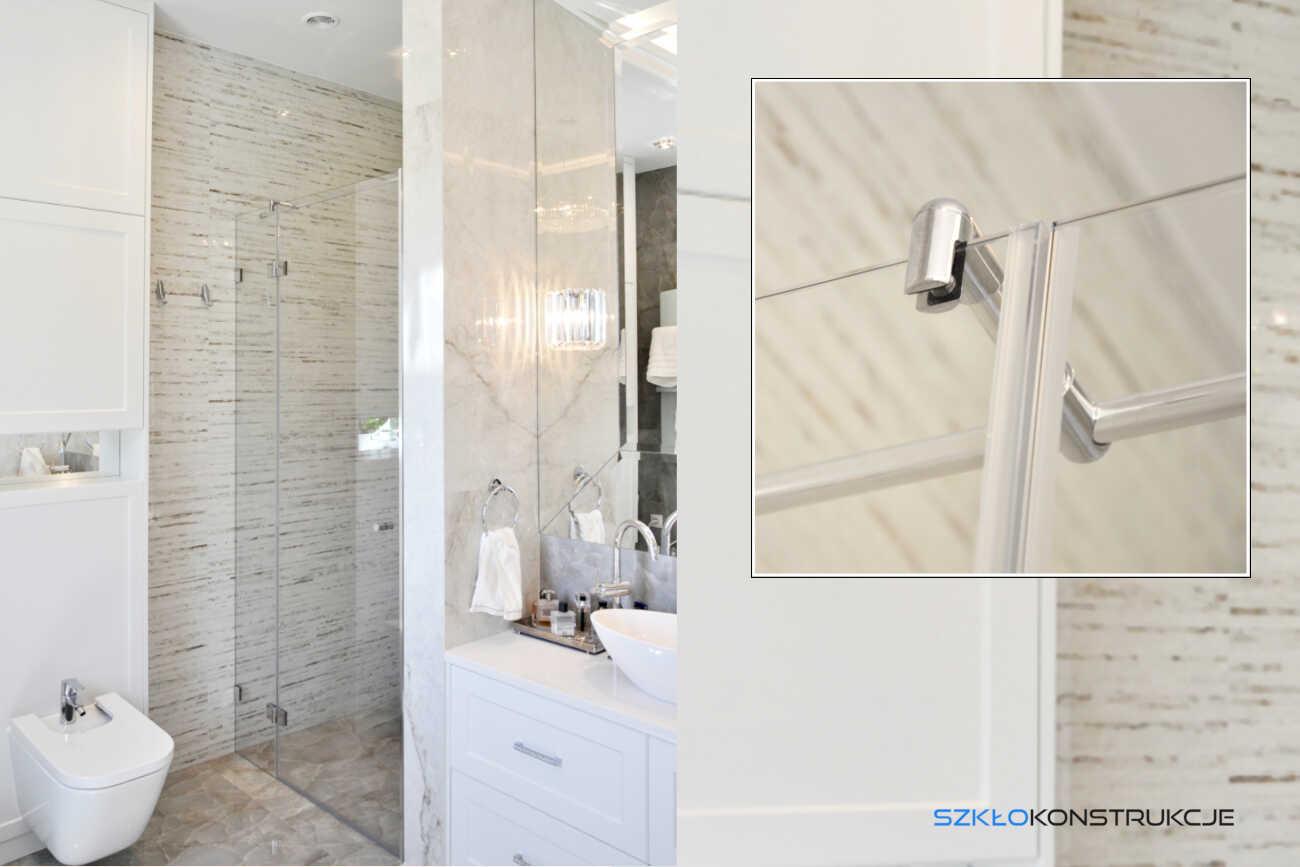 kabina prysznicowa ze szkła . Eleganckie okucia w wykończeniu chrom .
