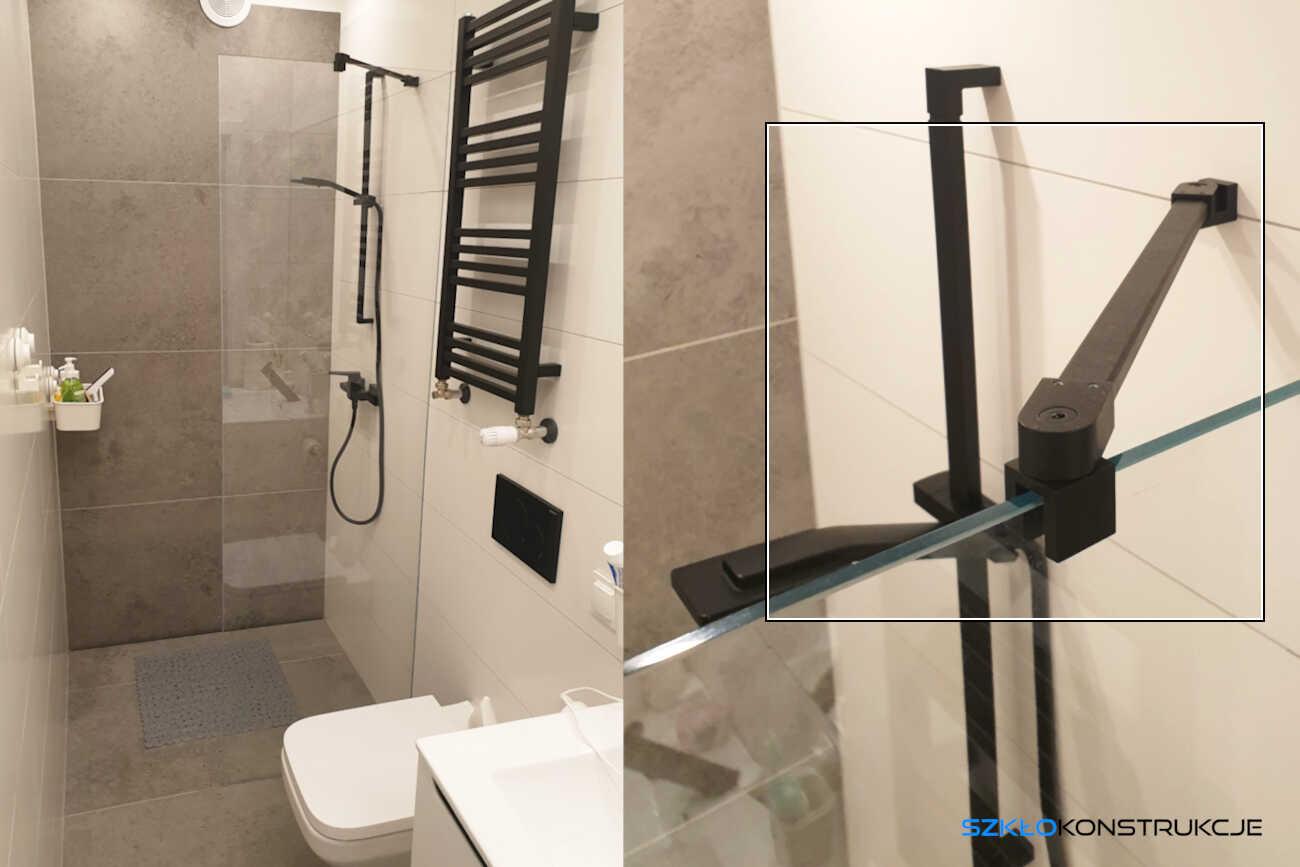 ścianka prysznicowa z czarnym stabiizatorem